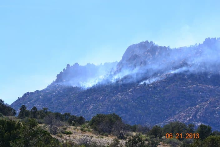 The Doce fire looking from Eileen's property at the base of Granite Mountain remind us why horses and smoke do not mix